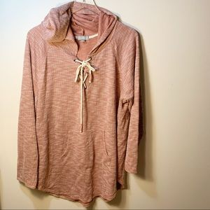 Lovesick Long Sleeve Hooded Lace Up Pullover Rayon Polyester